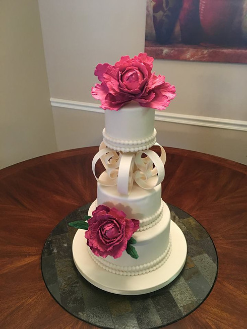 Spaced Wedding Cake with Sugar Flowers
