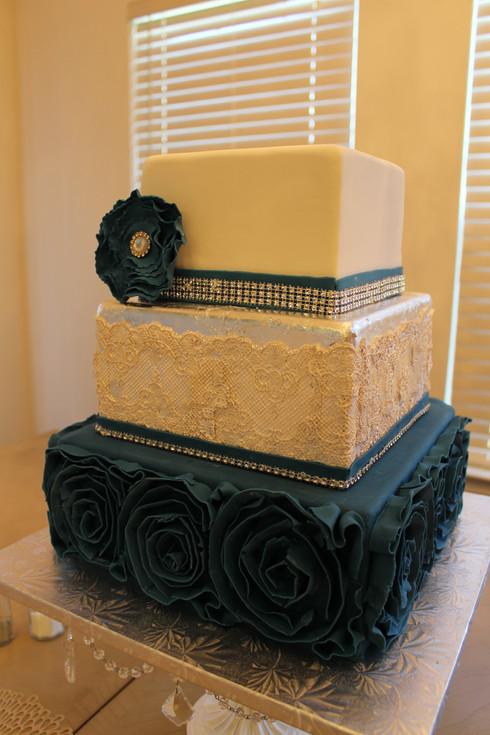 Navy Ruffles & Silver leaf Wedding Cake