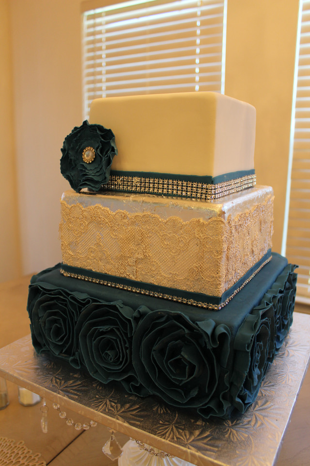 Navy Ruffles & Silver leaf Wedding Cake