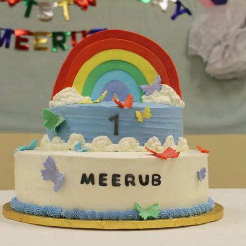 Rainbow & Butterflies Buttercream Cake