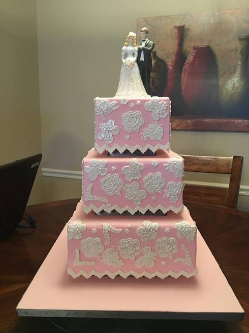 Pink Lace Wedding Cake