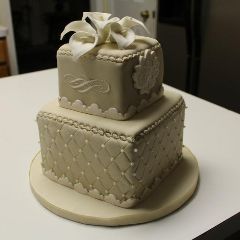 Ivory 2 tier Cake