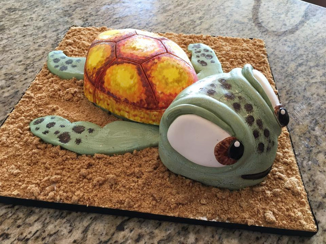 Sculpted Baby Turtle Cake