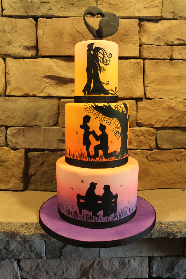 Painted Love Story Wedding Cake