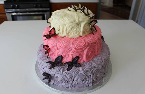 Buttercream Rossettes & Butterflies Wedding Cake