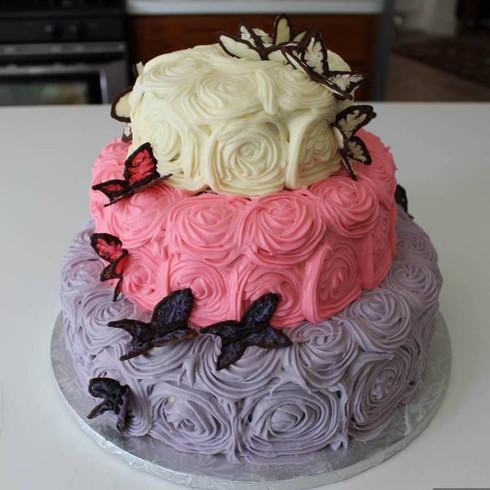 Rossettes & Butterflies Buttercream Cake