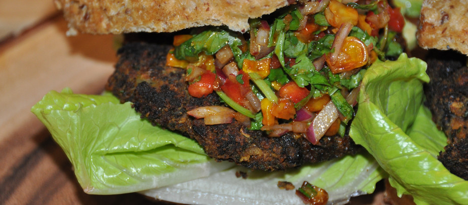 """High Protein Plant Based """"Black Bean Burger"""" with Roasted Sweet Corn Salsa and Homemade Kimchi Aioli"""