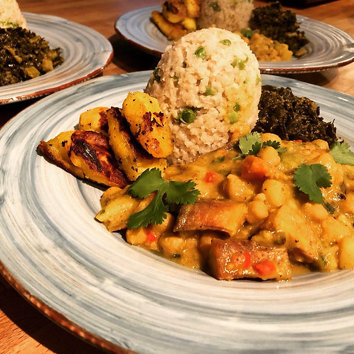 Jamaican Yellow Curry with Plantains, SK Chickpeas, Cauliflower & Potatoes