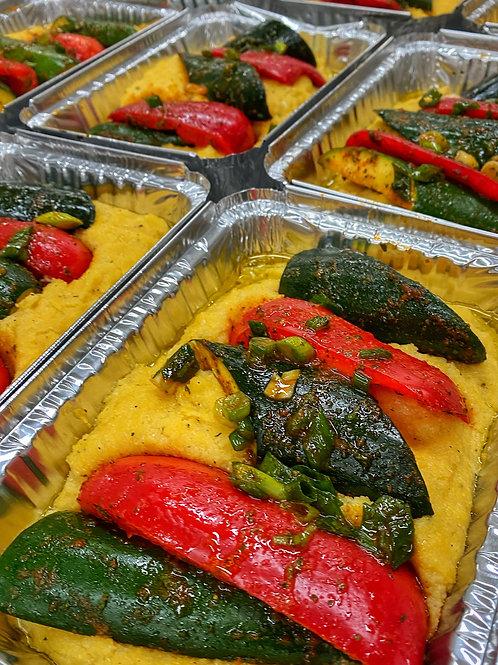 Crispy Polenta topped with Zucchini & Peppers & Sun Dried Tomato & Walnut Pesto