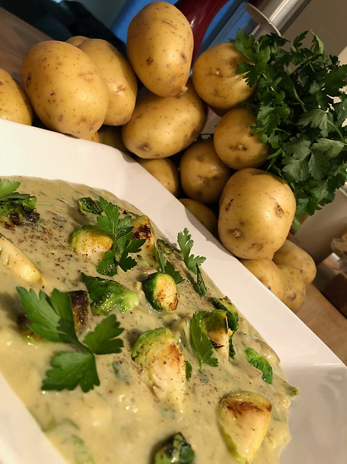 Classic Potato & Leek Soup Supercharged with Brussels Sprouts & Dill