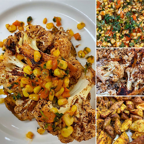 Chipotle Fire Roasted Cauliflower with Curry Potatoes and Corn & Pepper Salsa