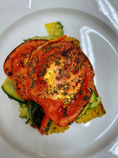 Rosemary Roasted Roma Tomatoes in a bed of Zucchini Pappardelle & Jalapeño Bread