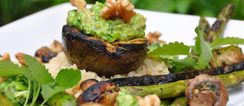 Plant Based Summer Vibes - Melon Carpaccio, Quinoa Brown Rice, Grilled Avocado & Veggies and Pesto!