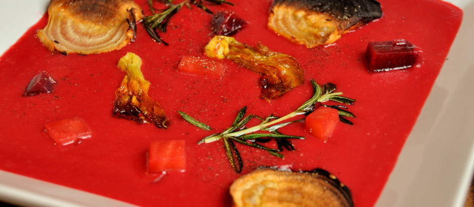 20 Minute Borscht Soup with Crispy Candy Beets & Zucchini Flowers