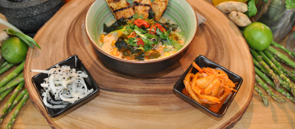 Plant Based Asian Miso & Coconut Broth Recipe with Beautiful Soba Noodles & BBQ King Oyster Mushroom