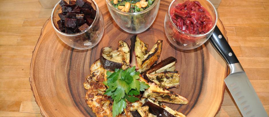 Beet Threesome - Killer Roasted Beets, Beet Stew and Beet Leaf Salad with Roasted Veggies