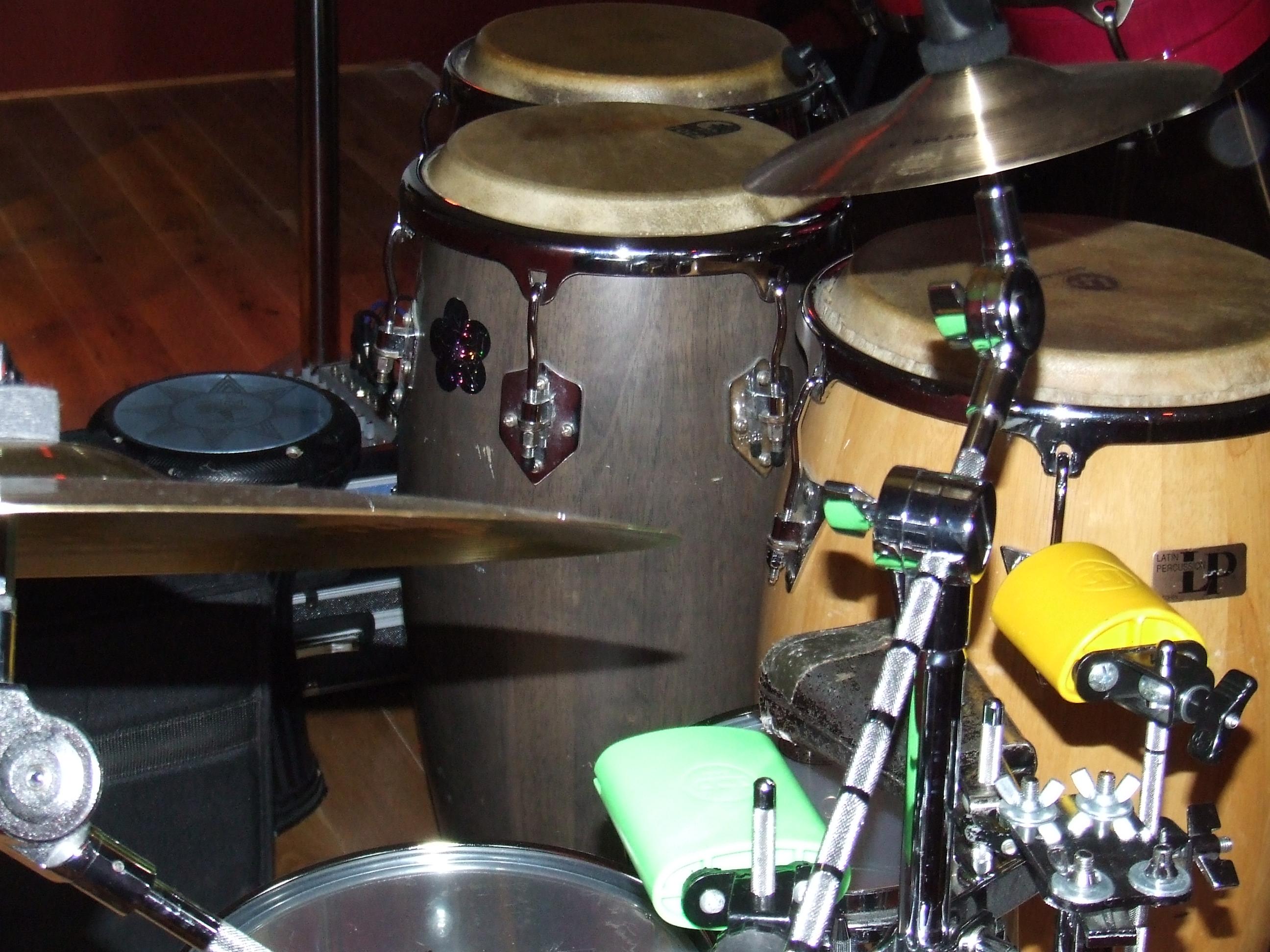 Congas and bongo set up