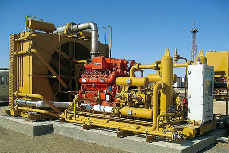 Compressor acionado por motor de combustão interna a gás