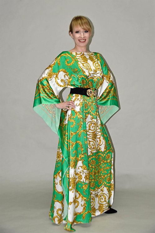 NOMIN Abendkleid grün aus Seide mit Gürtel