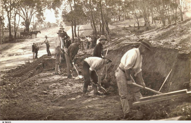 First day of construction of the Clare Railway, (right) John McDonald, 1849-1933