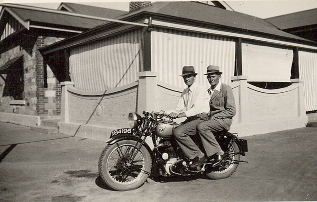 Motorbike with Lawry & THeo Zweck 1950s