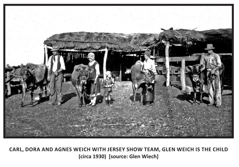 Carl, Dora and Agnes Weich with Jersey S