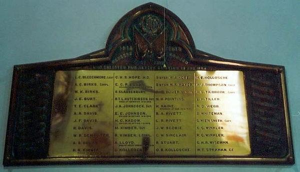 Clare St Barnabas Anglican Church WW1 Honour Board