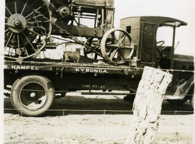 Hampel's truck loaded with tractor at Kybunga