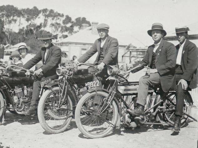 Allan Tilbrook at centre on Indian Bike, Yacka c 1925