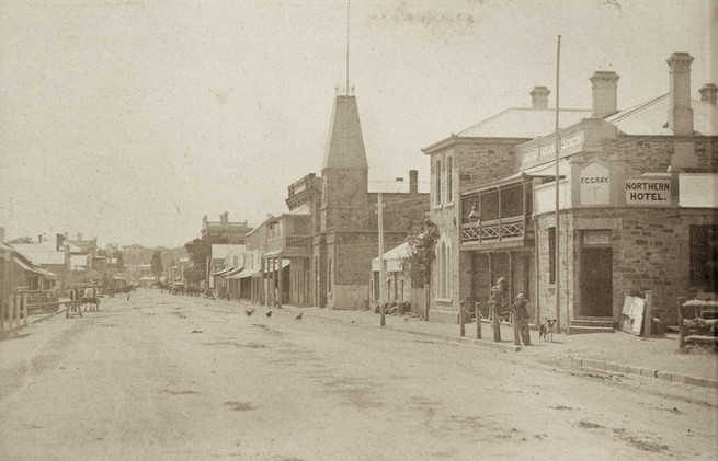 Looking North up the main street, c1880.