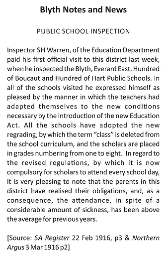 Blyth Notes and News Public School Inspe