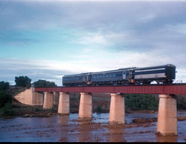 BlueBird train on Yacka bridge c 1960