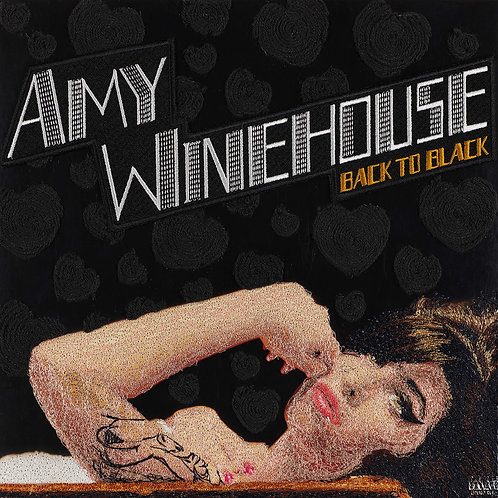 Back to Black, Amy Winehouse.  Acrylic Framed Embroidered Album Cover.