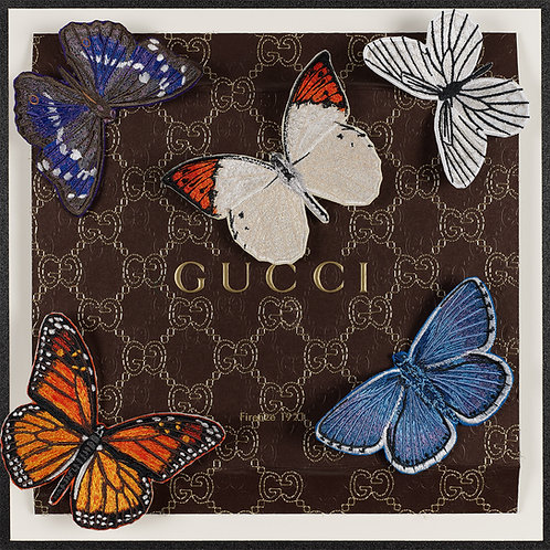 Gucci Gathering.  Embroidered & Acrylic Framed.