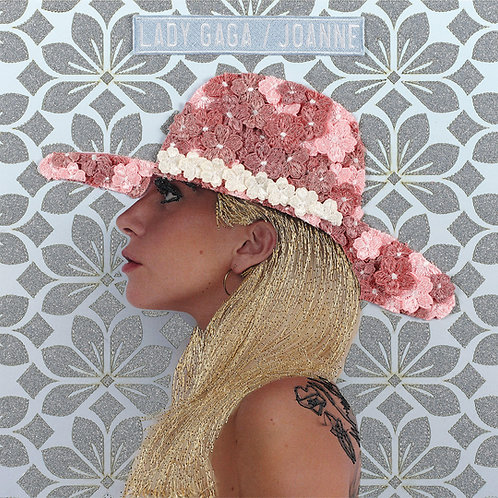 Joanne, Lady Gaga.  Acrylic Framed Embroidered Album Cover.