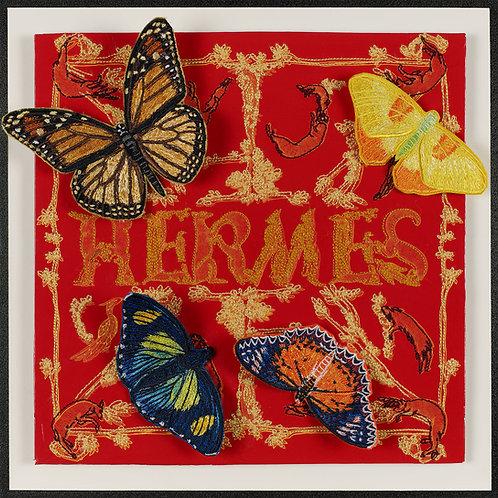 Hermes Flutter.  Embroidered & Acrylic Framed.