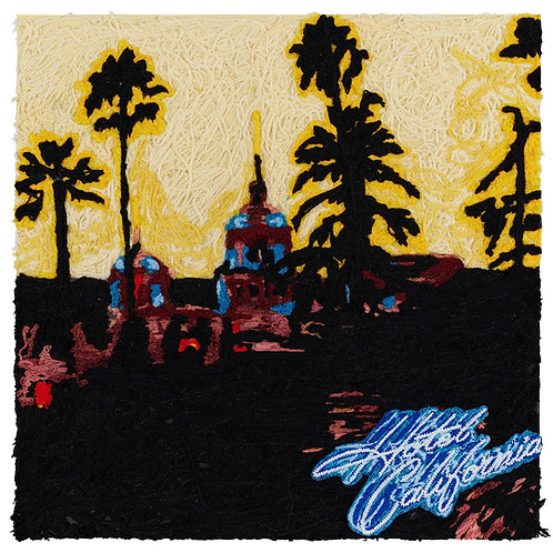 Hotel California, Eagles.  Acrylic Framed, Embroidered Album Cover.
