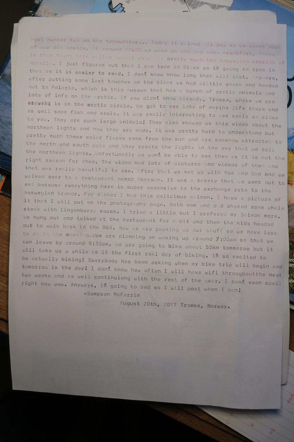 Last post on the typewriter