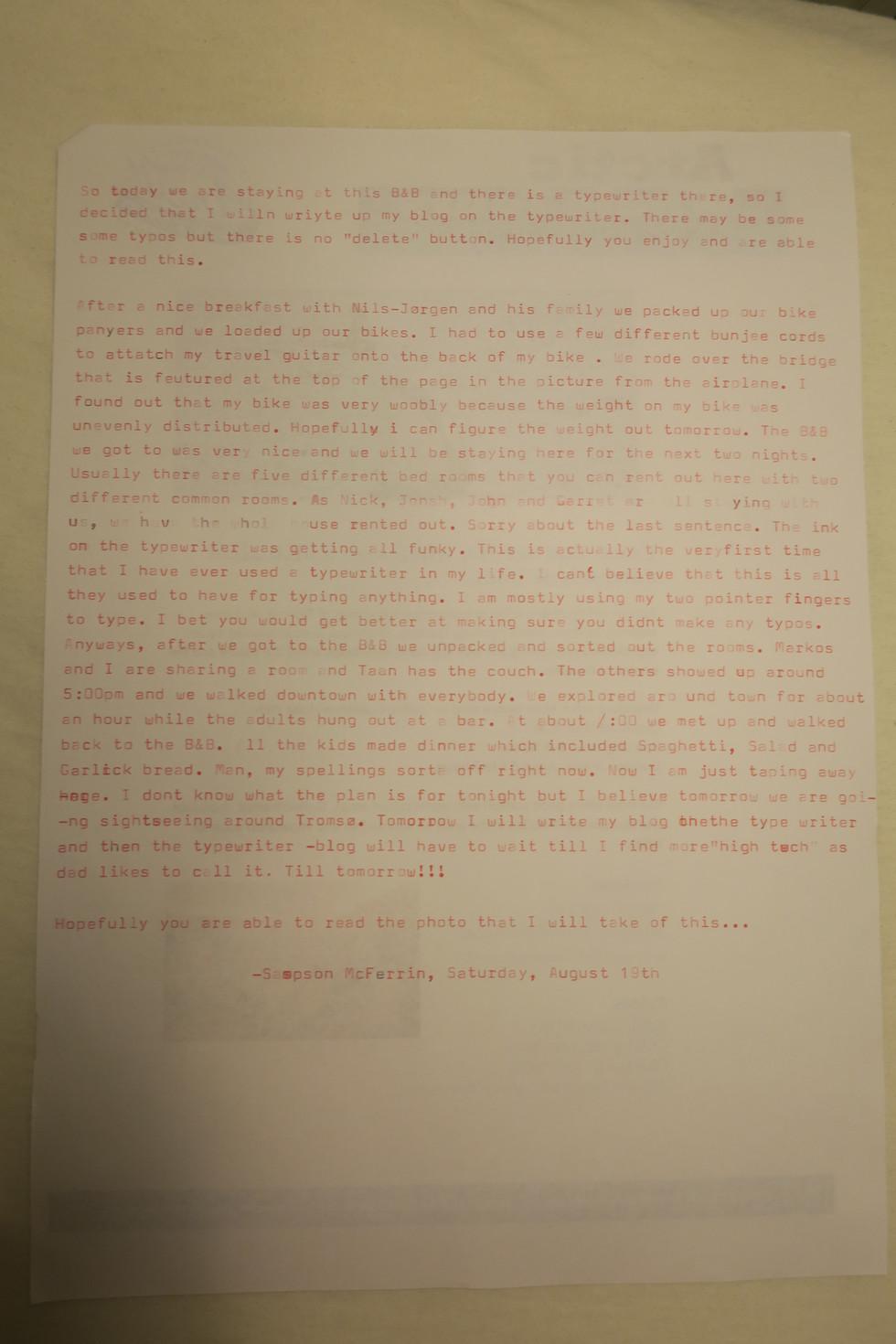 Blog post on a typewriter!