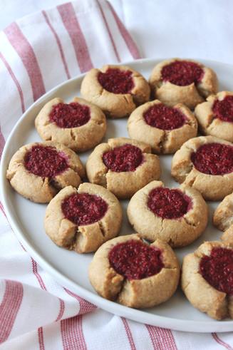 Raspberry chia thumprint cookies