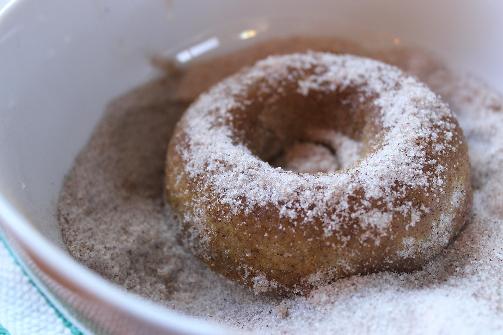 donut covered in cinnamon sugar