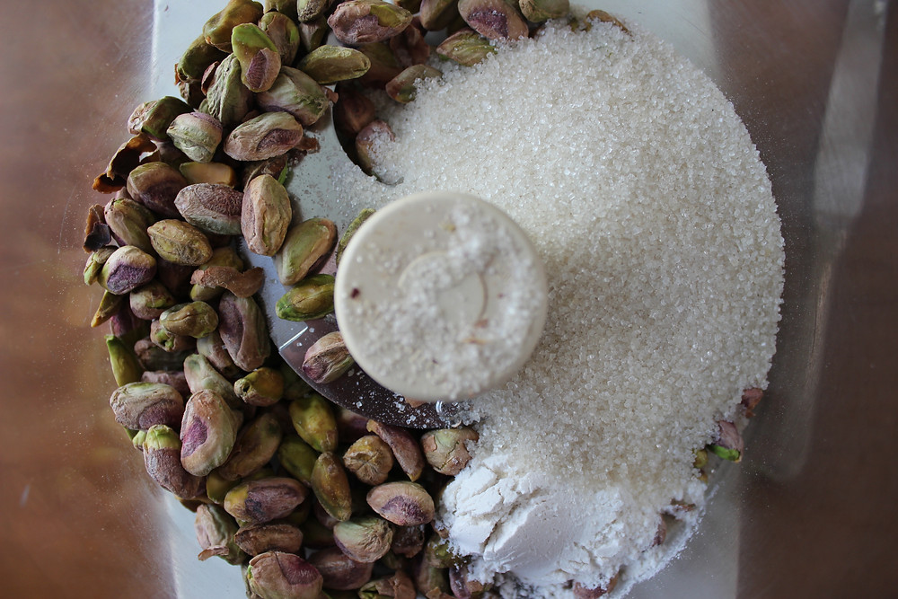 pistachios, flour, sugar and salt