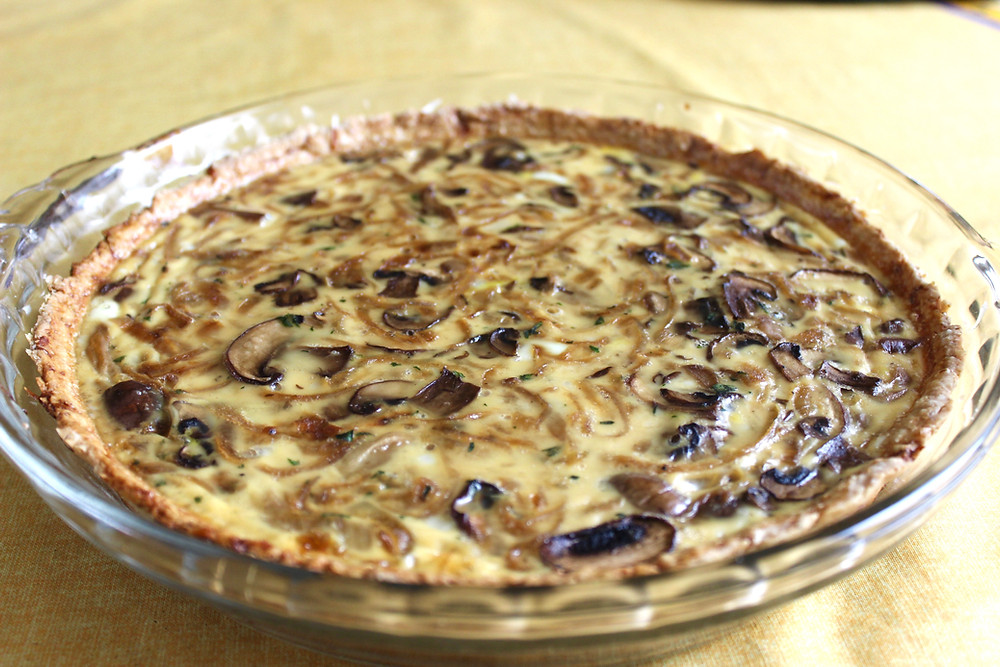 caramelized onion, mushroom and gruyere quiche