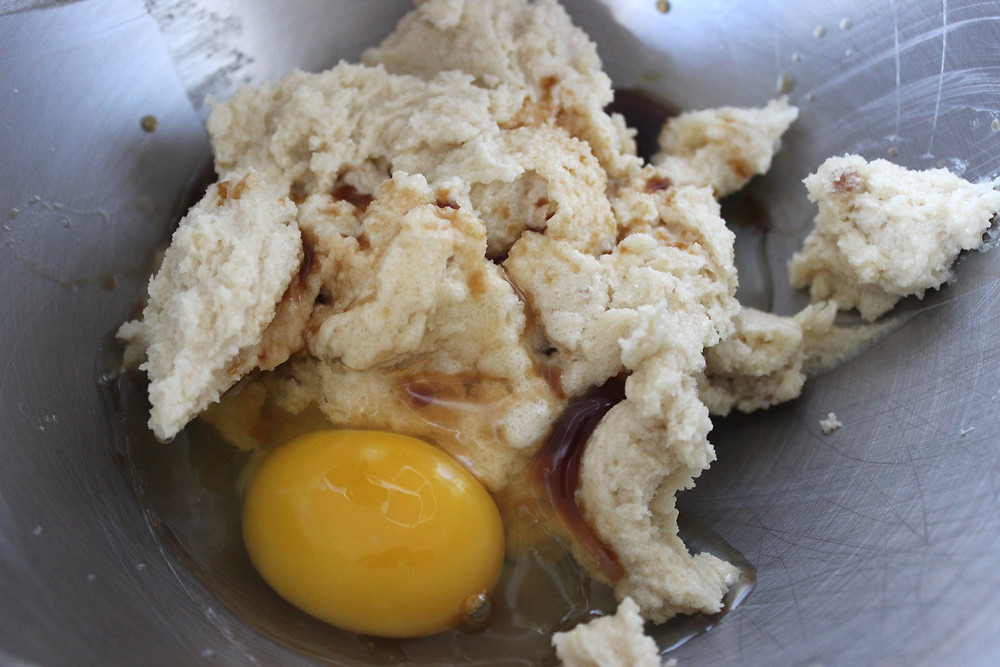 adding egg and vanilla
