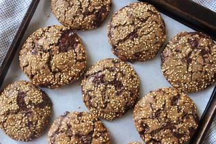 Tahini and Rye Chocolate Chip Cookies