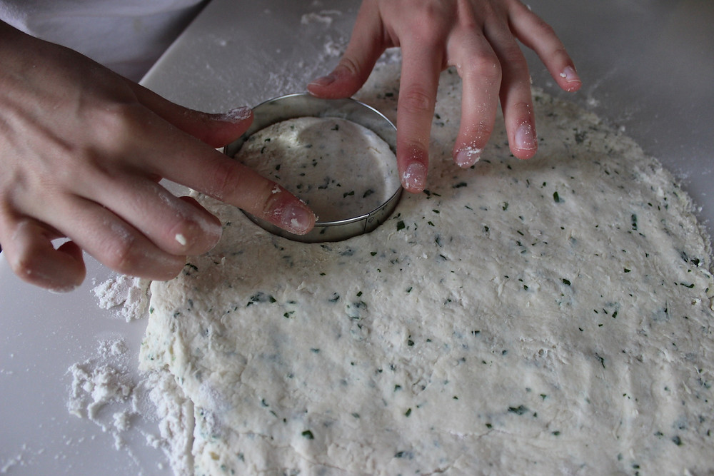 use a 2-inch cutter to cut the dough into circles