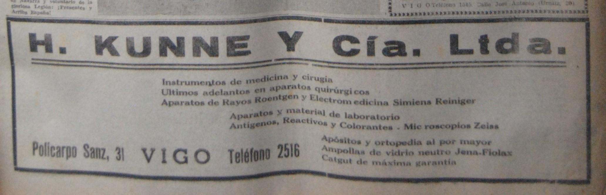 H. Kunne & Cía., comercial medicina