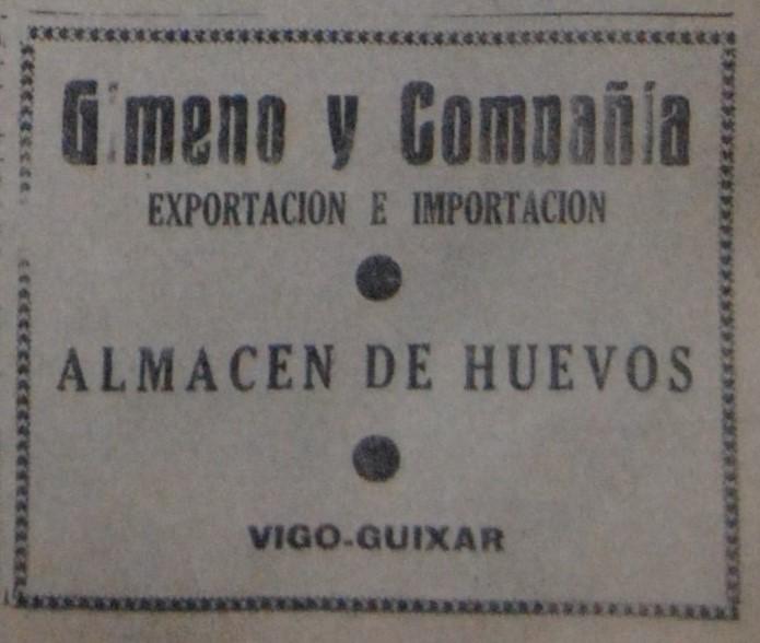 Gimeno & Cía., comercio de ovos