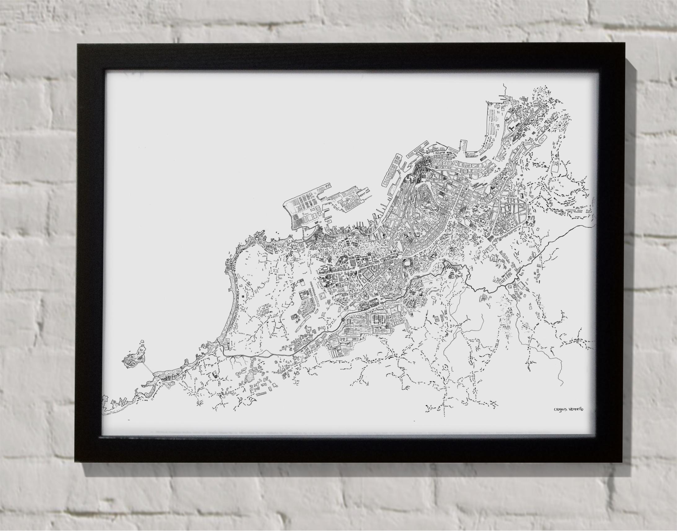 Mapa cidade de Vigo con marco
