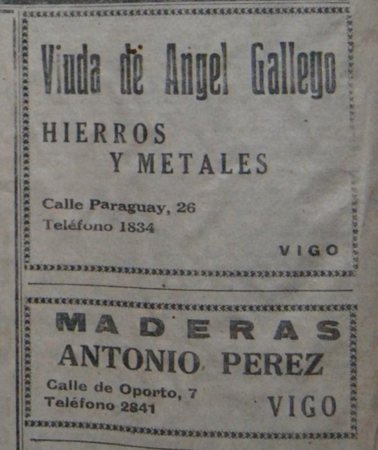 """""""Vda. de A. Gallego"""" e """"A. Pérez"""""""